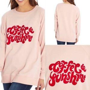 NWT WILDFOX Pink Soft Sweatshirt Coffee & Sunshine